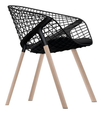Furniture - Chairs - Kobi Wood Armchair - Metal & wood legs / Small cushion by Alias - Oak legs - Black shell - Black cushion - Fabric, Lacquered steel, Oak