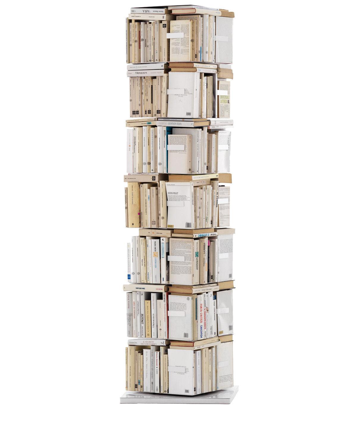 Mobilier - Etagères & bibliothèques - Bibliothèque rotative Ptolomeo H 197 cm / 4 faces -Livres vertical - Opinion Ciatti - Blanc - Acier laqué