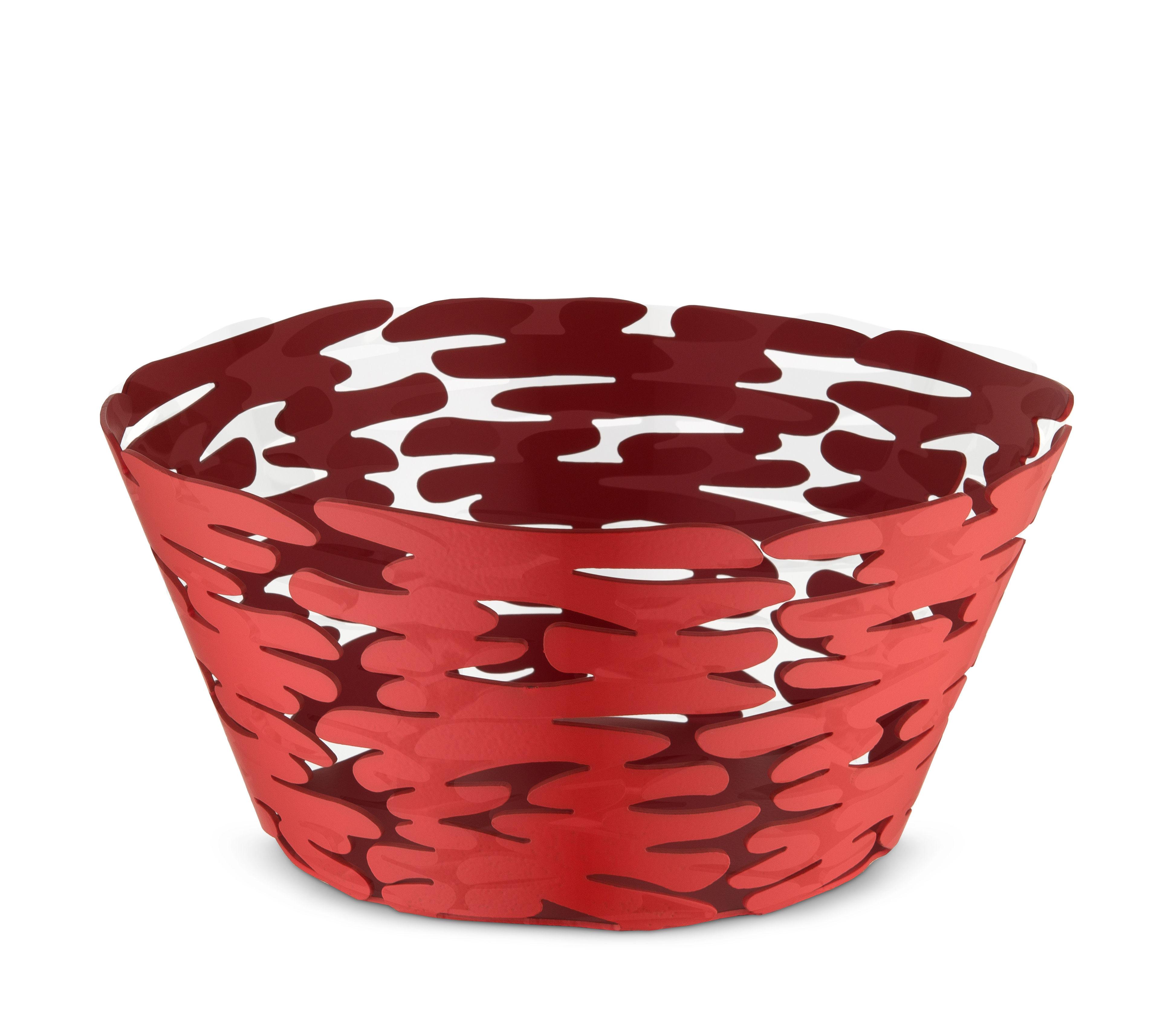 Arts de la table - Corbeilles, centres de table - Corbeille Barket / Ø 21 cm - Acier - Alessi - Rouge - Acier verni