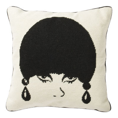 Decoration - Cushions & Poufs - Mod Model Cushion - 40,5 x 40,5 cm by Jonathan Adler - Black and White - Wool