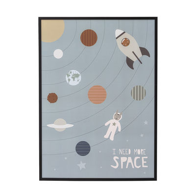 Decoration - Wallpaper & Wall Stickers - I need More Space Framed poster - / L 52 x H 72 cm - Pine frame by Bloomingville - Multicoloured / Black frame - Paper, Pine, Plexiglas