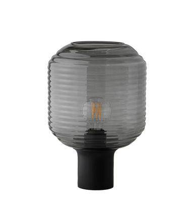 Illuminazione - Lampade da tavolo - Lampada da tavolo Honey di Frandsen - Grigio fumé / Legno Nero - Legno dell'albero della gomma tinto, Vetro