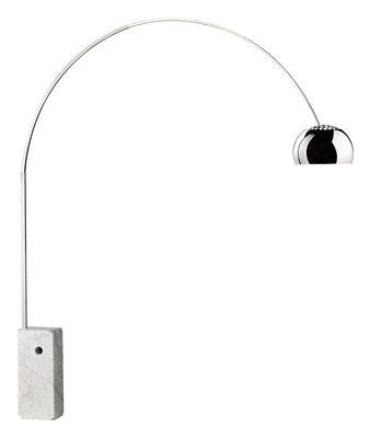 Luminaire - Lampadaires - Lampadaire Arco (1962) / H 240 cm - Flos - Acier / Marbre blanc - Acier inoxydable, Aluminium poli, Marbre blanc de Carrare