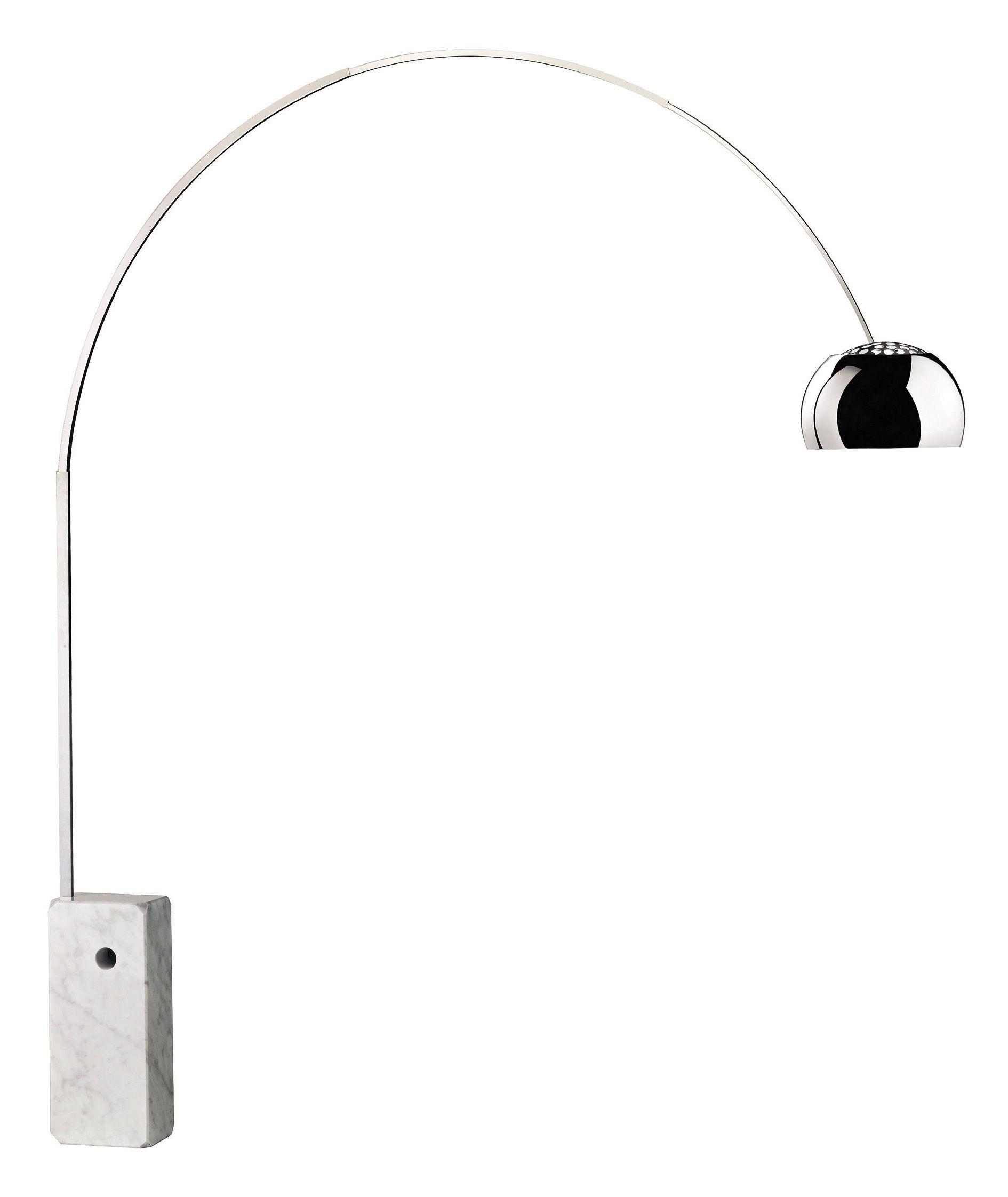 Luminaire - Lampadaires - Lampadaire Arco H 240 cm - Flos - Marbre blanc - structure acier e - Acier inoxydable, Aluminium poli, Marbre