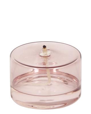 Outdoor - Déco et accessoires - Lampe à huile Olie / Ø 10 x H 6,5 cm - ENOstudio - Rose / Basse - Verre borosilicaté