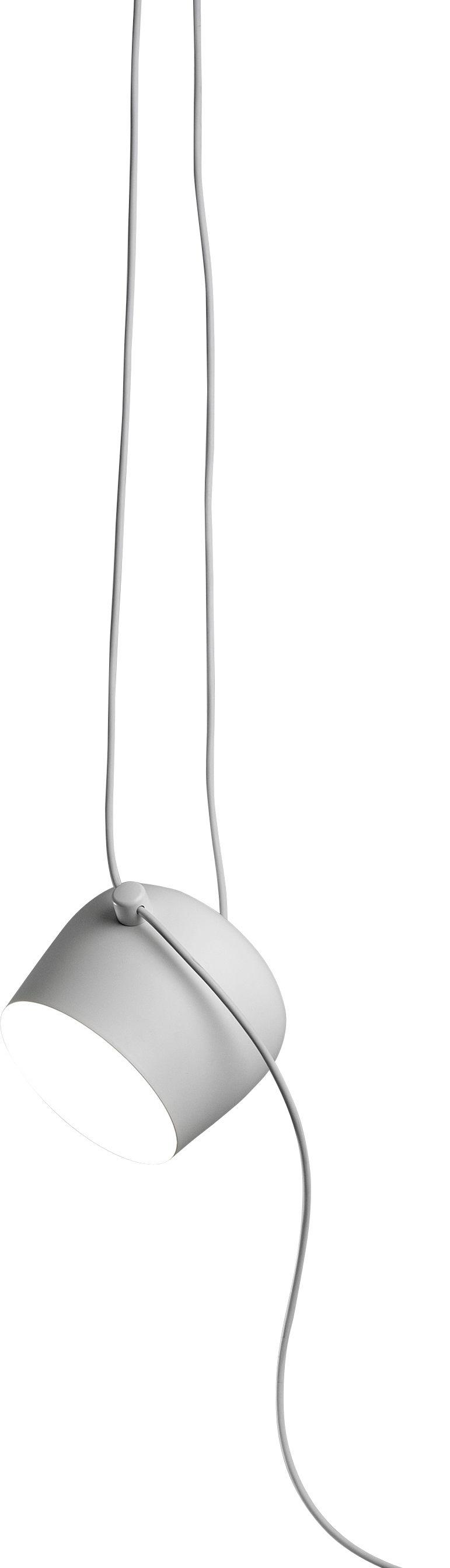Luminaire - Suspensions - Lampe AIM LED / À suspendre - Branchement secteur / Ø 24 cm - Flos - Blanc - Aluminium peint, Polycarbonate