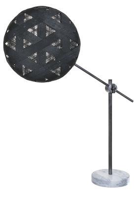 Luminaire - Lampes de table - Lampe de table Chanpen Hexagon Ø 36 cm / Articulée - Motifs triangles - Forestier - Noir / Canon de fusil - Abaca tissé, Marbre, Métal