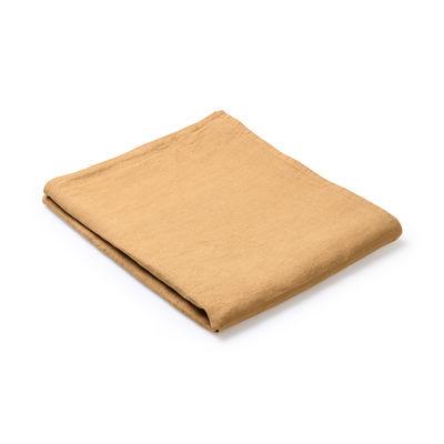 Nappe en tissu / 160 x 320 cm - Lin traité TEFLON®anti-tache - Au Printemps Paris jaune/orange/marron/or en tissu