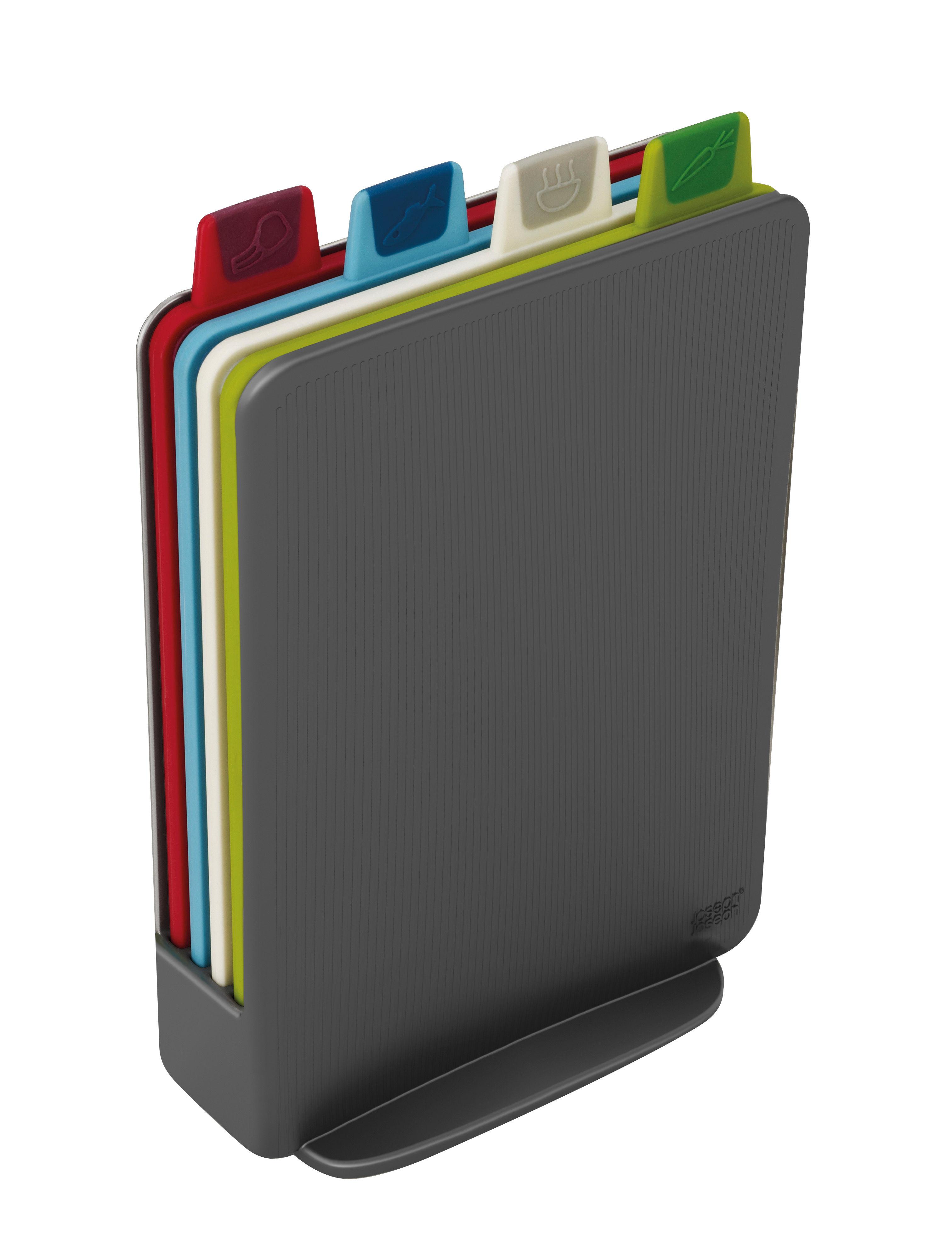 Cuisine - Ustensiles de cuisines - Planche à découper Index Mini / Set de 4 + support - 15 x 21 cm - Joseph Joseph - Anthracite - Plastique