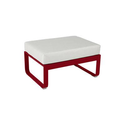 Mobilier - Tables basses - Pouf Bellevie / Table basse (coussin amovible) - Blanc grisé / 74 x 53 cm - Fermob - Piment / Tissu blanc grisé - Aluminium, Mousse, Tissu Outdoor Sunbrella