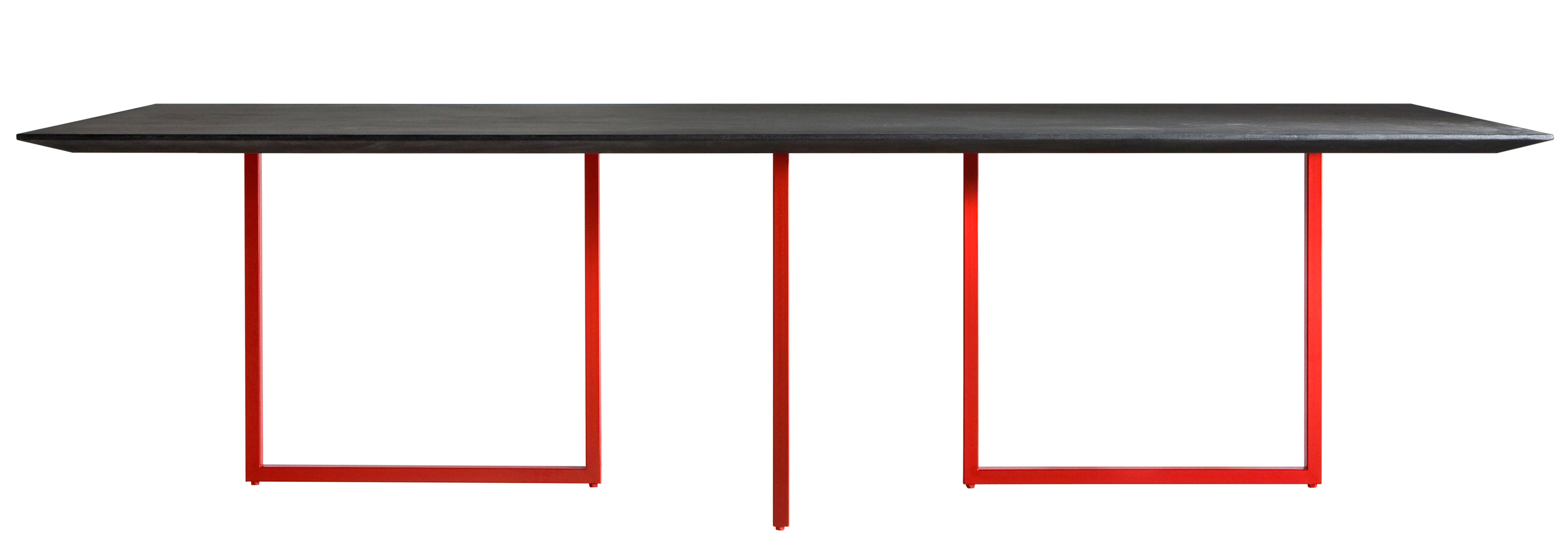 Furniture - Dining Tables - Gazelle Rectangular table by Driade - Anthracite top / Red leg - concrete, Laminate, MDF, Steel