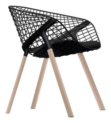 Möbel - Stühle  - Kobi Wood Sessel / Stuhlbeine aus Eiche - mit kleinem Sitzkissen - Alias - Schwarz / Stuhlbeine aus Eiche - kleines Sitzkissen schwarz - Eiche, Gewebe, lackierter Stahl