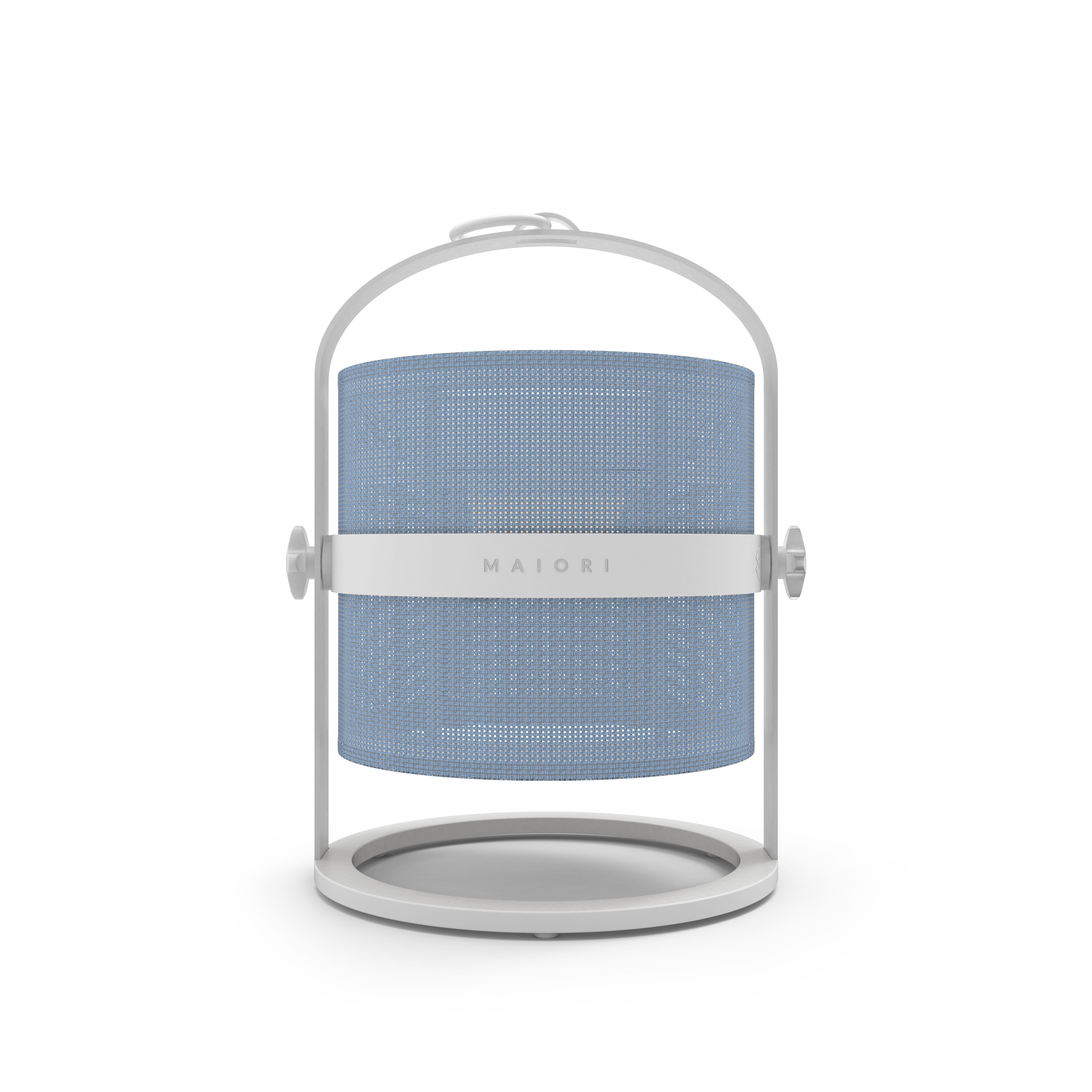 Lighting - Table Lamps - La Lampe Petite LED Solar lamp - Solar - White structure by Maiori - Structure : White - Diffuser : Royal Blue - Aluminium, Technical fabric