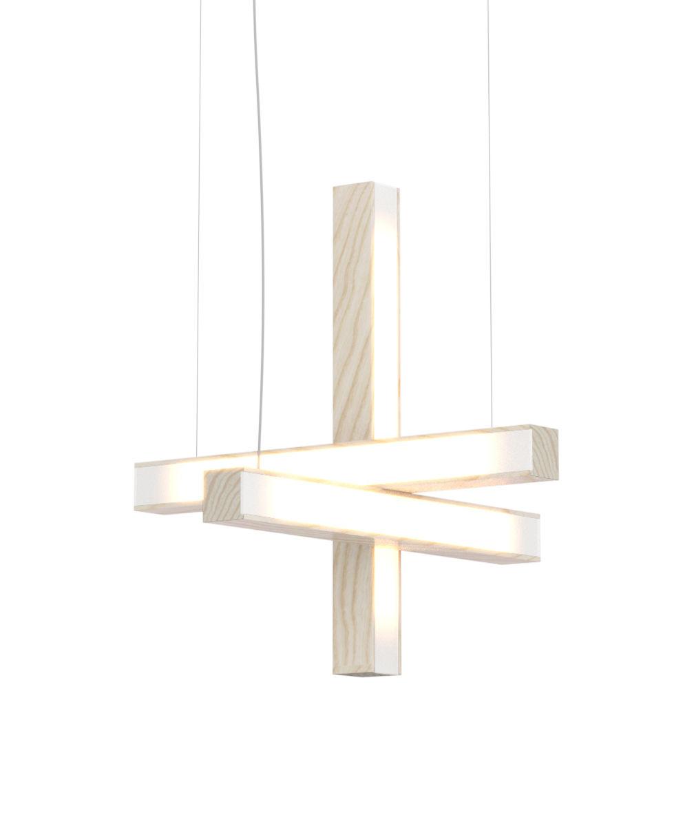 Illuminazione - Lampadari - Sospensione Led40 Cross - / Legno - L 40 cm di Tunto - Frassino - Massello di quercia oliato, Polipropilene