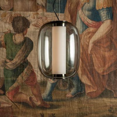 Illuminazione - Lampadari - Sospensione Meridiano Media - / LED - H 41cm di Fontana Arte - Gris fumé - Metallo nichelato, Vetro pyrex, vetro soffiato