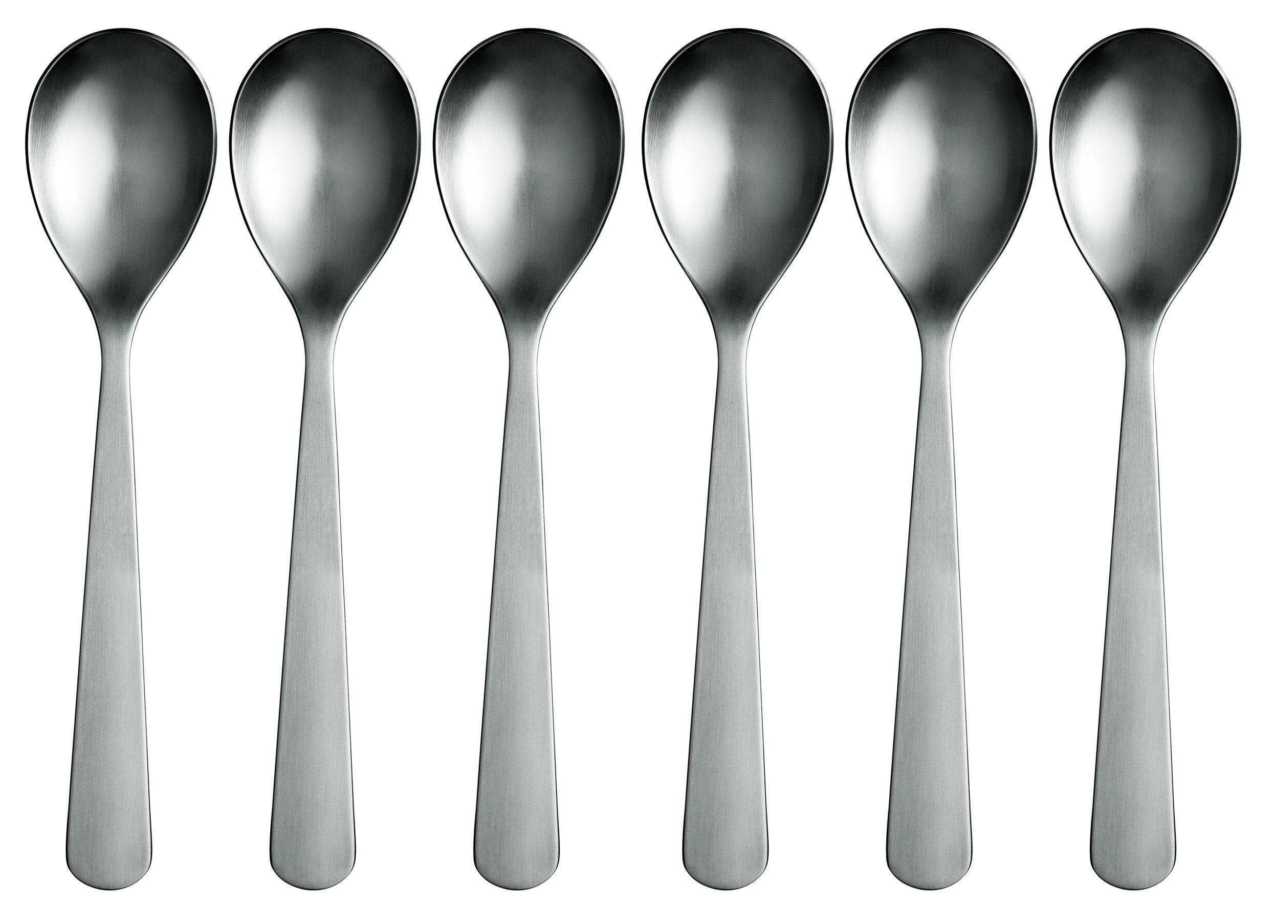 Tableware - Cutlery - Normann Soup spoon - Set of 6 spoons by Normann Copenhagen - Mat steel - Steel