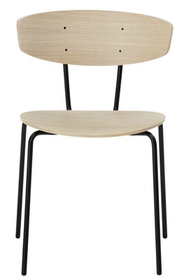 Furniture - Chairs - Herman Stacking chair - Wood & metal by Ferm Living - Oak / Black - Epoxy lacquered steel, Oak plywood