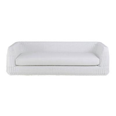 Outdoor - Sofas - Agorà Straight sofa - / 3 seats -L 230 cm / Hand-braided polyethylene by Unopiu - White / Ecru white cushion - Acrylic fabric, Aluminium, Foam, Waprolace synthetic fibre