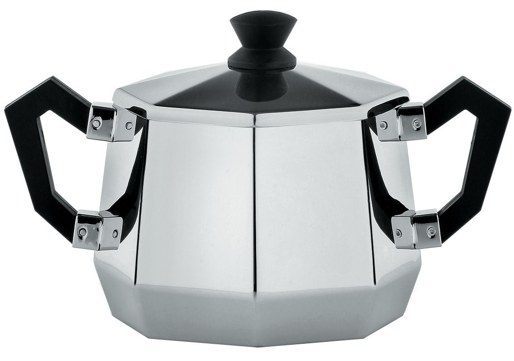 Kitchenware - Sugar Bowls, Milk Pots & Creamers - Memories from the future - Ottagonale Sugar bowl by Alessi - Polished steel - Black - Polished steel