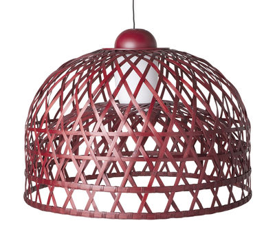 Luminaire - Suspensions - Suspension Emperor Medium Ø 100 cm - Moooi - Ø 100 cm - Rouge - Aluminium, Rotin