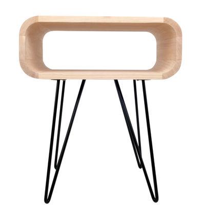 Mobilier - Tables basses - Table d'appoint Metro End / L 58 x H 50 cm - XL Boom - Bois naturel / Pied noir - Bois d'Hévéa, Métal peint
