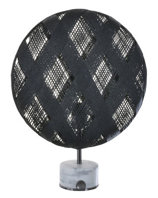 Lighting - Table Lamps - Chanpen Diamond Table lamp - Ø 36 cm - Diamond patterns by Forestier - Black / Base gun metal - Marble, Metal, Woven acaba
