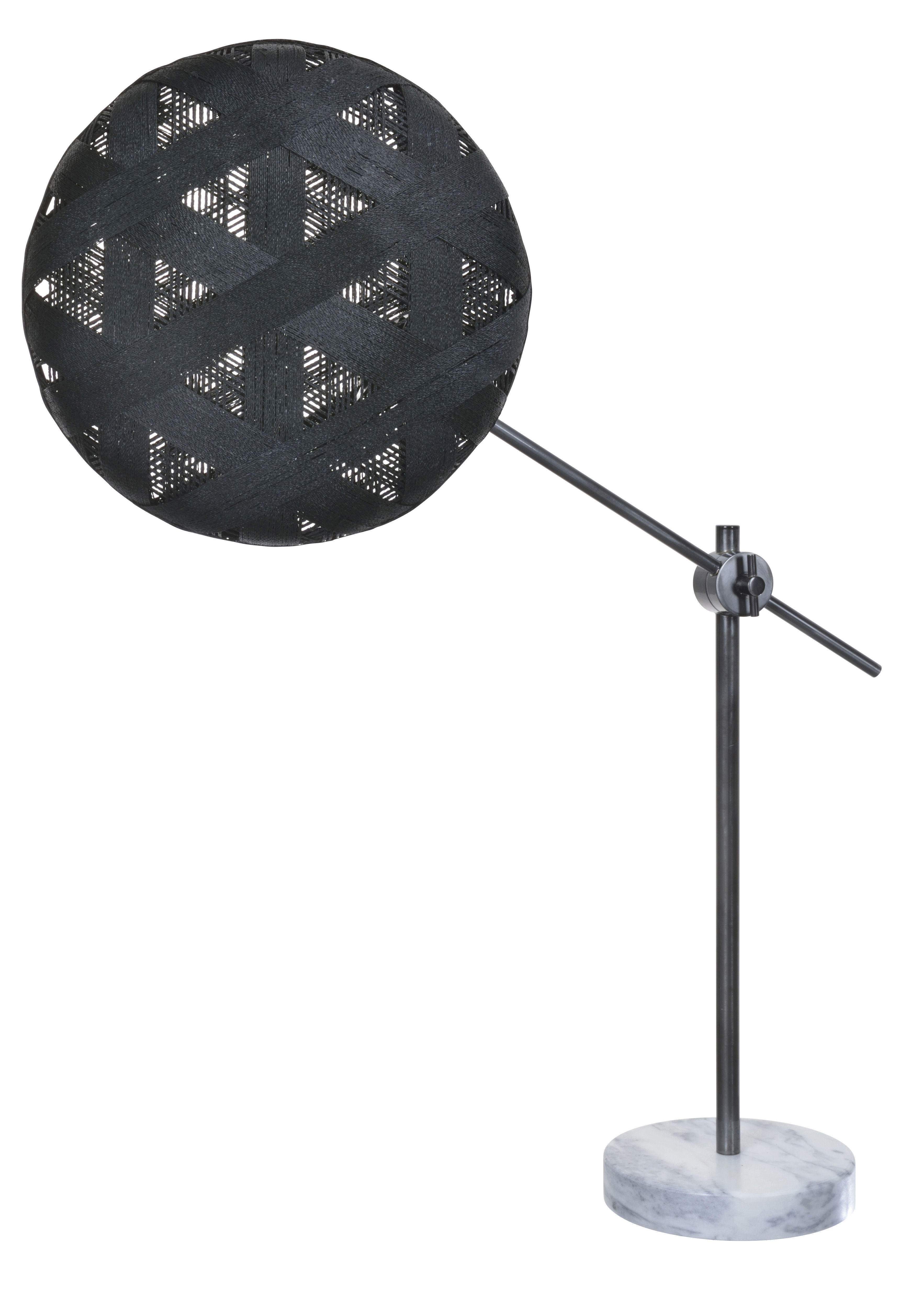Lighting - Table Lamps - Chanpen Hexagon Table lamp - High / Ø 36 cm - triangle patterns by Forestier - Black / Gun metal - Marble, Metal, Woven acaba