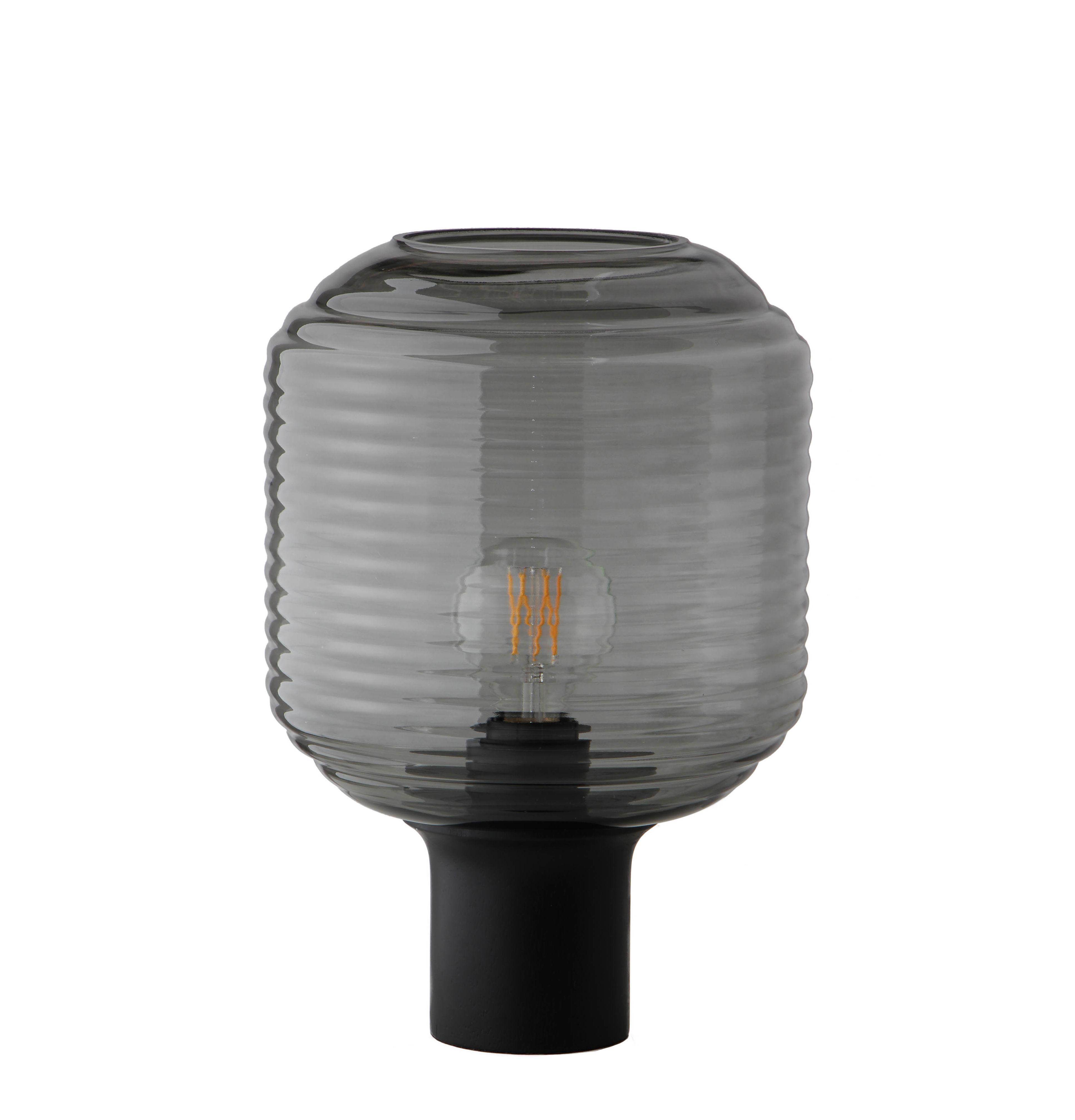 Lighting - Table Lamps - Honey Table lamp - / Glass & wood by Frandsen - Smoky grey / Black wood - Bois d'hévéa teinté, Glass