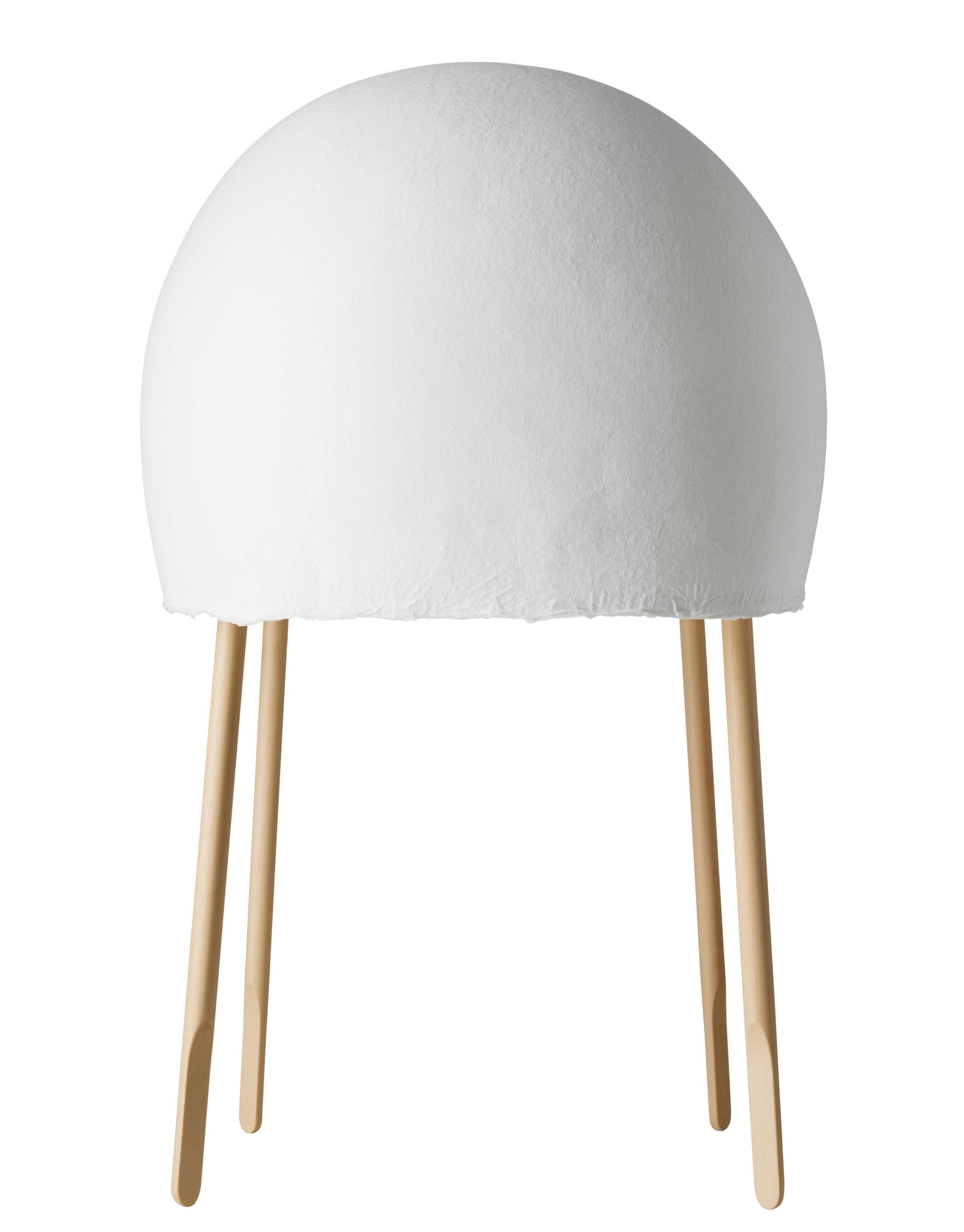 Lighting - Table Lamps - Kurage Table lamp - H 49 cm by Foscarini - White / Natural ash - Beech wood, Ceramic, Washi paper