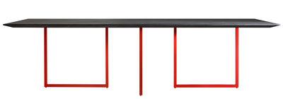 Natale - Vintage - Table rectangulaire Gazelle / L 210 x 90 cm - Driade - Plateau anthracite / Pied rouge - Acier, Ciment, Laminé, MDF