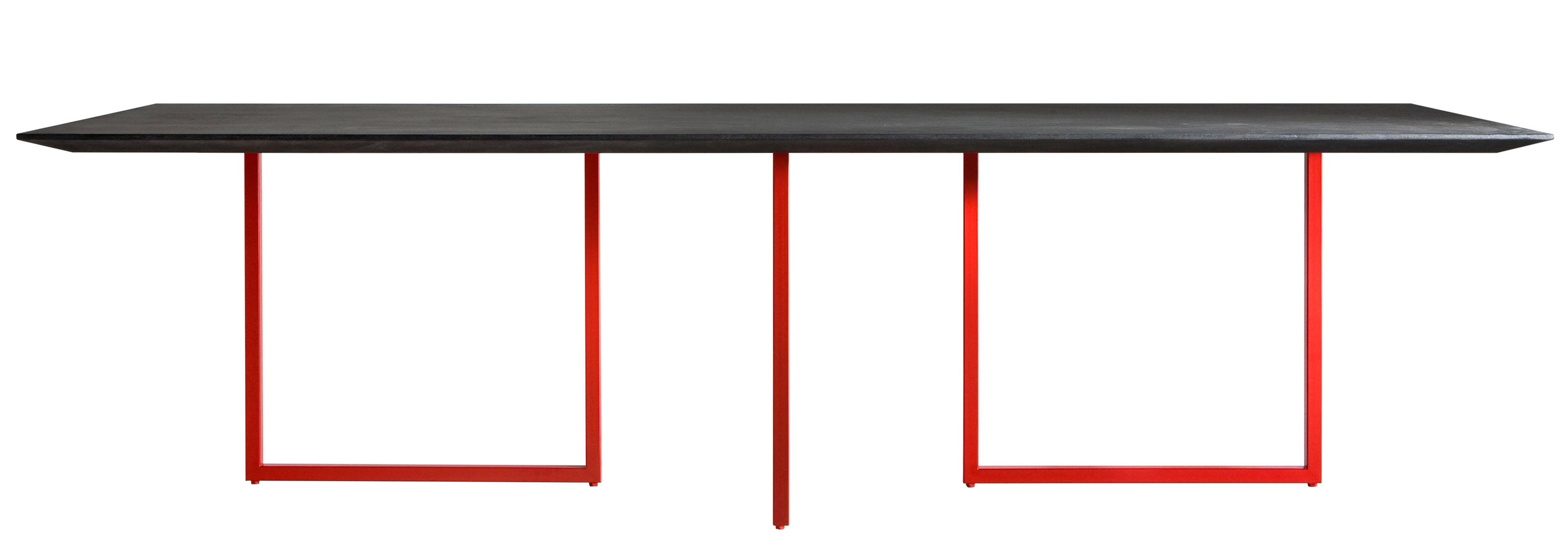 Mobilier - Tables - Table rectangulaire Gazelle / L 210 x 90 cm - Driade - Plateau anthracite / Pied rouge - Acier, Ciment, Laminé, MDF