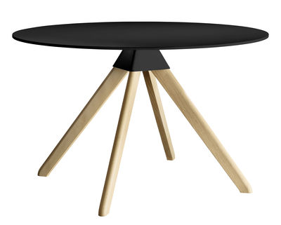 Table ronde Cuckoo - The Wild Bunch Ø 120 cm - Magis noir,bois naturel en matière plastique