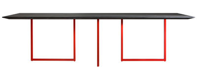 Arredamento - Tavoli - Tavolo rettangolare Gazelle - / L 210 cm di Driade - Top antracite / Gamba rossa - Acciaio, Cemento, Laminato, MDF