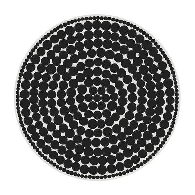 Black Bombay Teppich / Ø 145 cm - Vinyl - PÔDEVACHE - Weiß,Schwarz