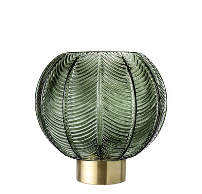 Déco - Vases - Vase / Verre & métal - Ø 20 x H 21 - Bloomingville - Vert & or - Métal, Verre texturé