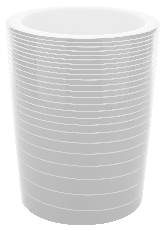 Arredamento - Mobili luminosi - Vaso per fiori luminoso Grand Jane di Serralunga - Bianco laccato rigato - Polietilene