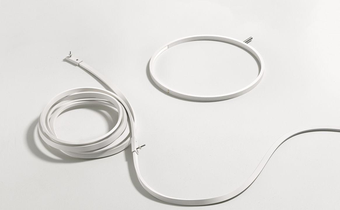 Applique wirering led h cm c ble gris anneau rose flos