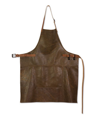 Kitchenware - Tea Towels & Aprons - Apron - Barbecue / Leather by Dutchdeluxes - Brown - Split leather
