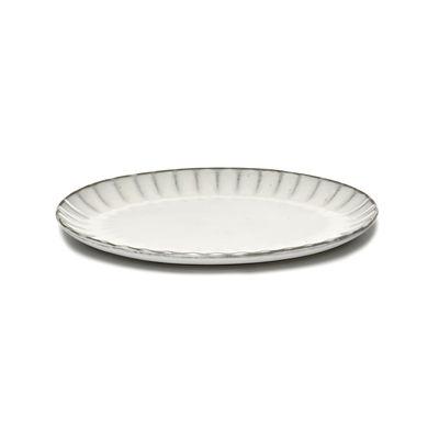 Arts de la table - Assiettes - Assiette Inku / Ovale Small - 25 x 17,5 cm - Serax - Small / Blanc - Grès émaillé