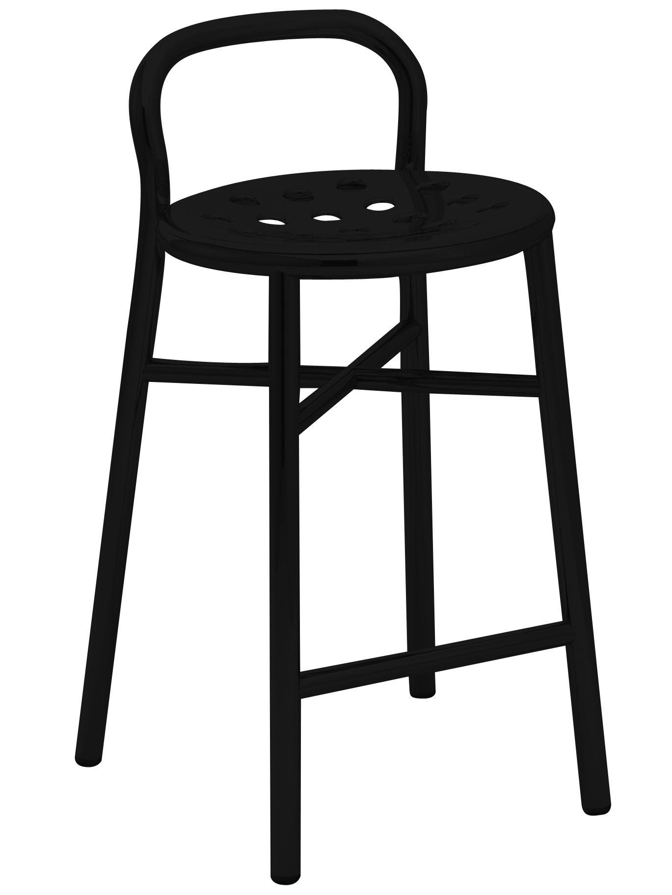 Möbel - Barhocker - Pipe Barhocker H 67 cm - Magis - Schwarz - gefirnister Stahl, klarlackbeschichtetes Aluminium