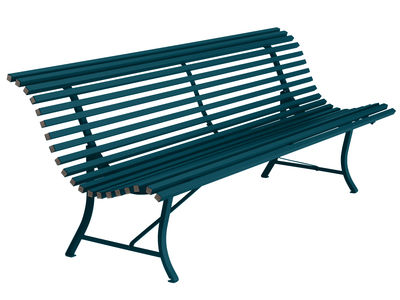 Furniture - Benches - Louisiane Bench with backrest - / L 200 cm - Metal by Fermob - Acapulco blue - Electro-galvanized steel
