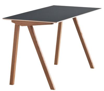 Mobilier - Bureaux - Bureau Copenhague n°90 / L 130 cm - Hay - Noir  / Pied chêne - Chêne teinté, Linoléum