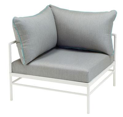 Canapé modulable Rivage /Module angle - Tissu - Vlaemynck blanc,gris clair,bleu lagune en tissu