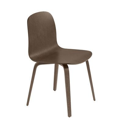 Furniture - Chairs - Visu Chair - / Wooden legs by Muuto - Dark wood - Tinted oak plywood