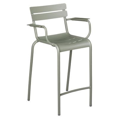 Chaise de bar Luxembourg Bridge / H 69,5 cm - Accoudoirs - Fermob vert en métal