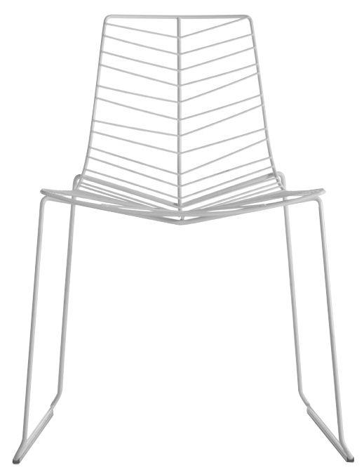 Mobilier - Chaises, fauteuils de salle à manger - Chaise empilable Leaf / Métal - Arper - Blanc - Acier laqué