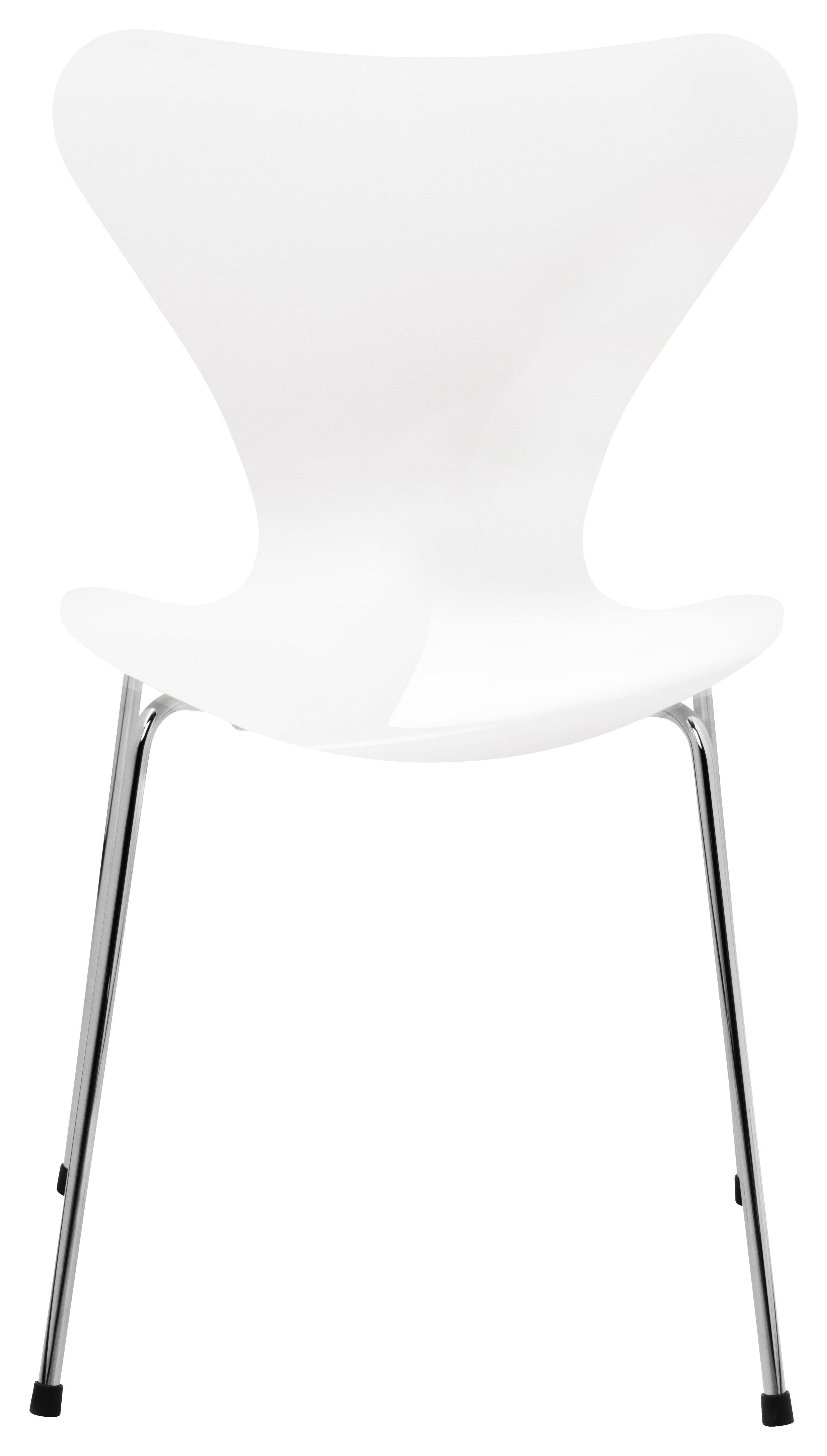 Mobilier - Chaises, fauteuils de salle à manger - Chaise empilable Série 7 / Bois laqué - Fritz Hansen - Blanc / Pieds chromés - Acier, Contreplaqué de bois laqué