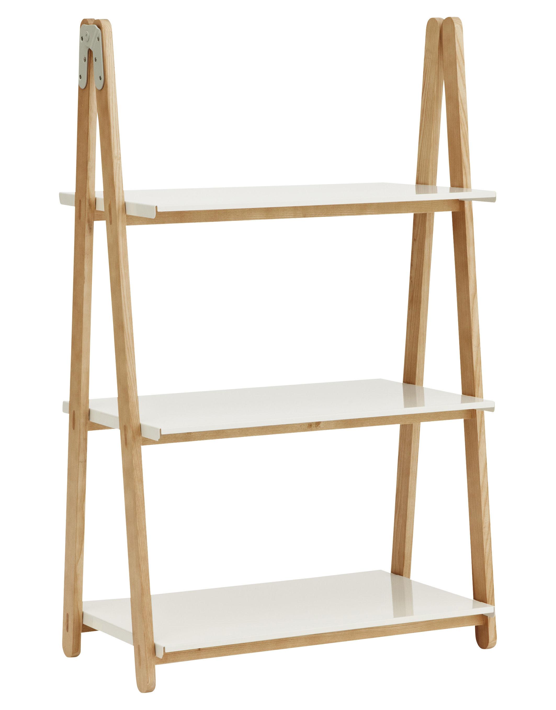 Mobilier - Etagères & bibliothèques - Etagère One Step Up / H 126 cm - Normann Copenhagen - Blanc - Bois clair - Acier, Frêne