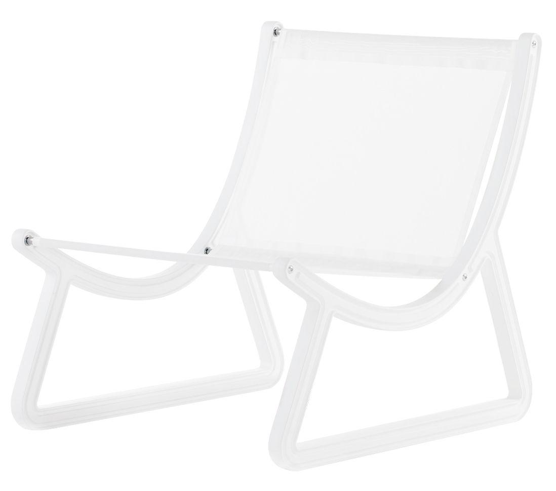 Mobilier - Fauteuils - Fauteuil bas Dream Line / Pour l'extérieur - Tissu & plastique - Slide - Tissu blanc / Structure blanche - Polyuréthane, Toile Batyline®