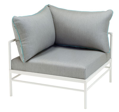 Fauteuil rembourré Rivage / Module angle - Tissu - Vlaemynck blanc,gris clair,bleu lagune en tissu